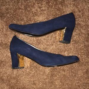 Vintage St. John Blue Suede Heels